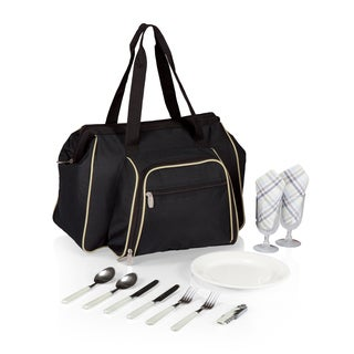 Picnic Time Toluca Black with Tan Cooler Tote