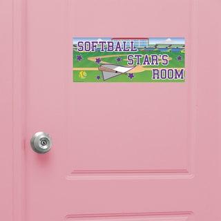 Softball Girl Door Sign Peel and Stick