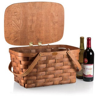 Picnic Time Natural Wood Prairie Picnic Basket