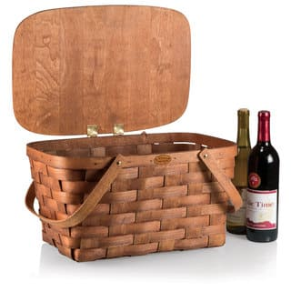 Picnic Time Natural Wood Prairie Picnic Basket|https://ak1.ostkcdn.com/images/products/11536270/P18483002.jpg?impolicy=medium