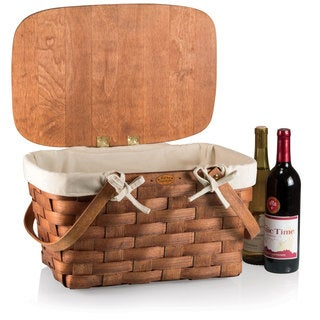 Picnic Time Prairie Natural Wood with Beige Lining Picnic Basket with Lining