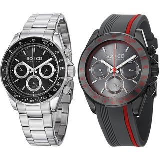 SO&CO New York Men's Stainless Steel Bracelet And Rubber Strap Watch Set