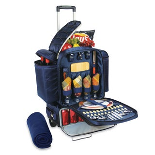Picnic Time Excursion Navy with Burgundy Plaid Rolling Picnic Cooler