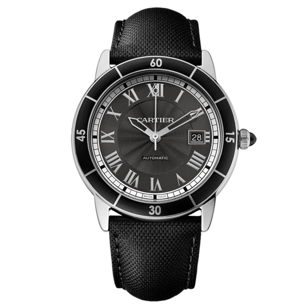 Cartier Men's WSRN0003 Ronde Croiseire Round Black Leather Strap Watch. Opens flyout.