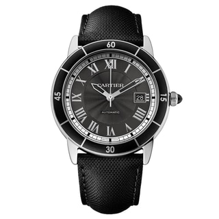 Cartier Men's WSRN0003 Ronde Croiseire Round Black Leather Strap Watch