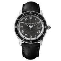 Cartier Men's WSRN0003 Ronde Croiseire Round Black Leather Strap Watch