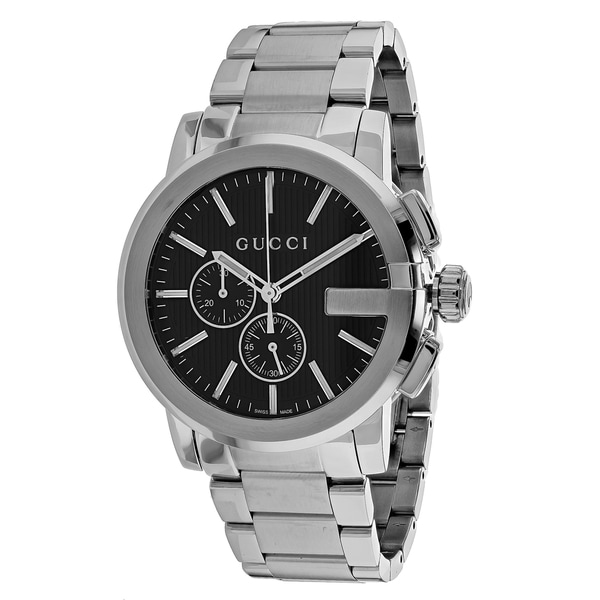 bf542c5316a Shop Gucci Men s YA101204 G-Chrono Round Silver-tone Stainless Steel  Bracelet Watch - Free Shipping Today - Overstock - 11536293