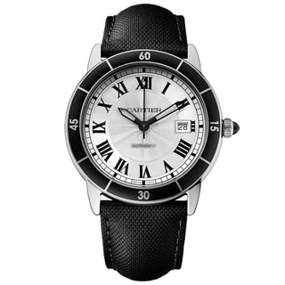 Cartier Men's WSRN0002 Ronde Croiseire Round Black Leather Strap Watch