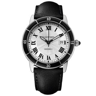 Cartier Men's WSRN0002 Ronde Croiseire Round Black Leather Strap Watch