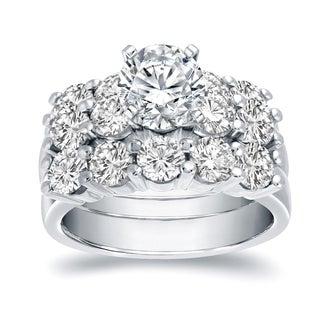Auriya 14k Gold 4 1/2ct TDW Certified Round-Cut Diamond 3-Piece Bridal Ring Set
