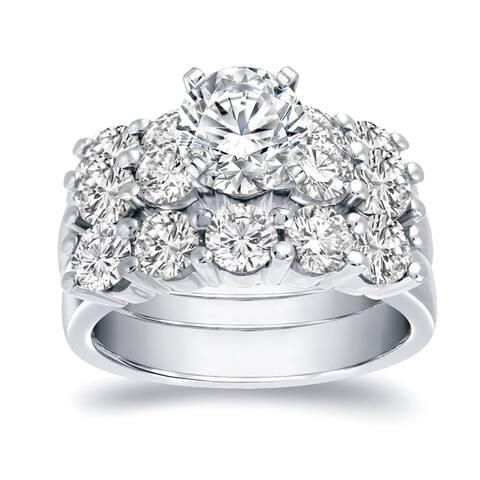 Auriya 14k Gold 4 4/5ctw Classic 5 Stone Diamond Engagement Ring Set 3pc