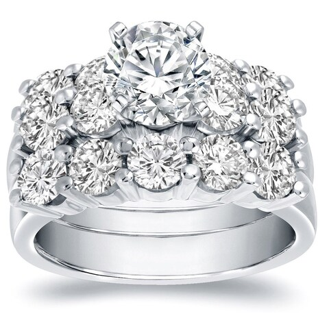 Auriya Certified 4 4/5ctw Round 5 Stone Diamond Engagement Ring and Wedding Band 3pc Set 14K Gold