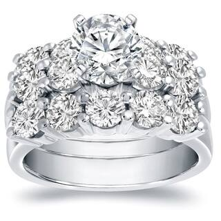 Auriya 14k Gold 4 1/2ct TDW Certified Round-Cut Diamond 3-Piece Bridal Ring Set|https://ak1.ostkcdn.com/images/products/11536302/P18483059.jpg?impolicy=medium