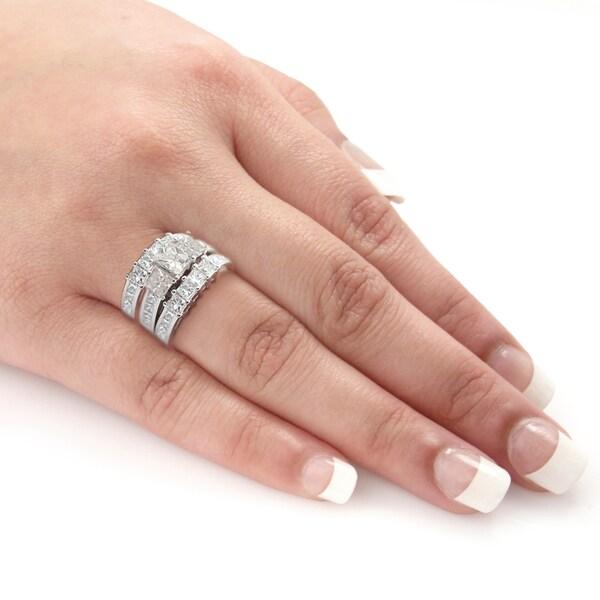 Auriya 14k Gold 4ct TDW Certified 3-Stone Princess-Cut Diamond Engagement Ring 3pc Bridal Set