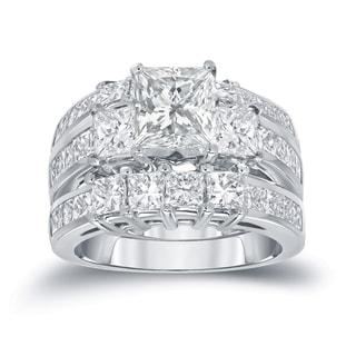 Auriya 14k Gold 4ct TDW Certified Princess-cut Diamond 3-piece Bridal Ring Set