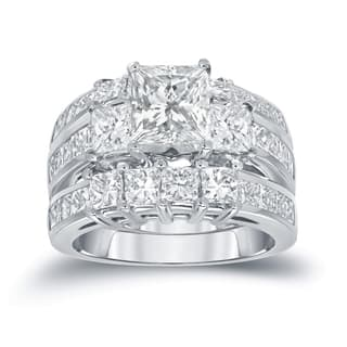 Auriya 14k Gold 4ct TDW Certified Princess-Cut 3-Stone Diamond Engagement Ring 3pc Bridal Set|https://ak1.ostkcdn.com/images/products/11536306/P18483060.jpg?impolicy=medium