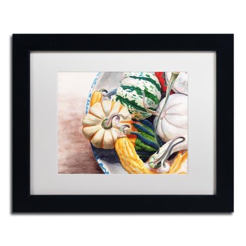 Jennifer Redstreake 'Autumn Gourds' Matted Framed Art