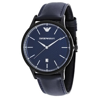 Armani Men's AR2479 Renato Round Blue Leather Strap Watch