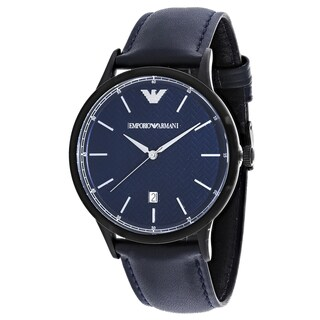 Emporio Armani Men's AR2479 Renato Round Blue Leather Strap Watch