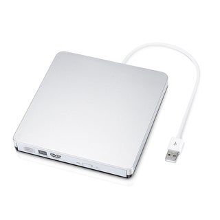 USB 2.0 Portable External Slot CD/ DVD-RW Burner Writer with Built-in USB Cable