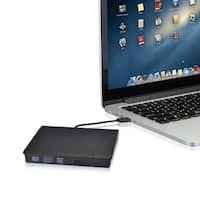 External Hard Drive, CD/ DVD-RW Burner Writer Player with USB3.0 Cable - Brown/Silver