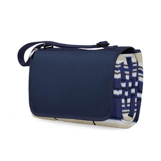 Picnic Time Navy and Blue-Striped Blanket Tote