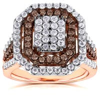 Annello by Kobelli 10k Gold 1 1/2ct TDW Brown and White Diamond Double Halo Octagonal Ring