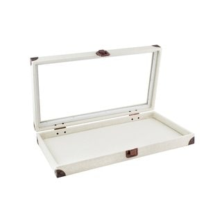Caddy Bay Collection Beige Canvas Jewelry Ring Display Case