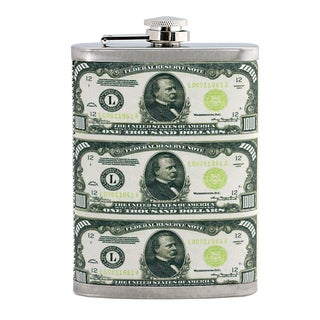 Hip Flask Featuring $1,000 Bills