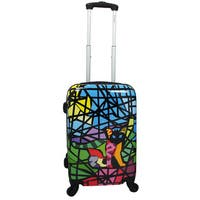 Chariot Cat Stained Glass Art 20-inch Hardside Lightweight Upright Spinner Carry-On Suitcase