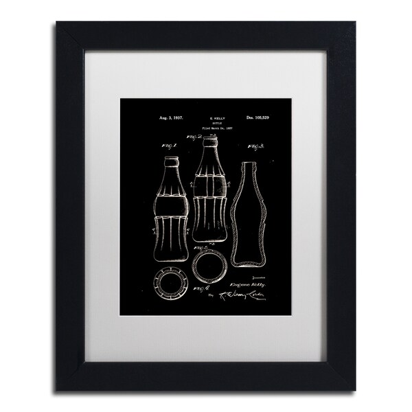 Claire Doherty 'Coca Cola Bottle Patent 1937 Black' Matted Framed Art - Multi