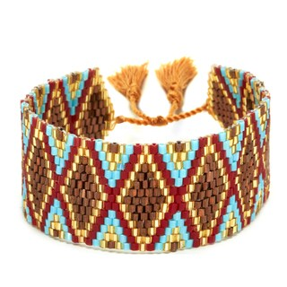 Brown, Red, Gold, and Turquoise Adjustable Beaded Cuff