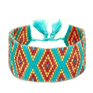 Red, Gold, and Teal Adjustable Beaded Cuff