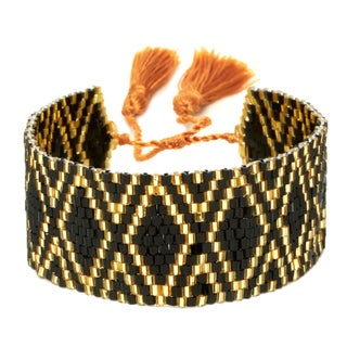 Black and Gold Adjustable Beaded Cuff