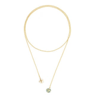 Gold Overlay Peru Chalcedony and Crystal Quartz Lariat Necklace