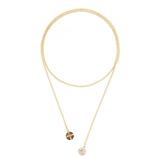 Gold Overlay Pink Chalcedony and Smokey Quartz Lariat Necklace