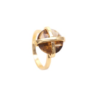 Gold Overlay Smokey Quartz Gemstone Ring
