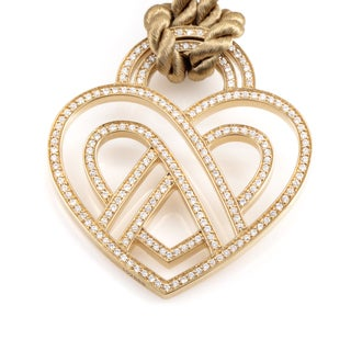 18k Yellow Gold Poiray Wire Heart Framework Diamond Necklace
