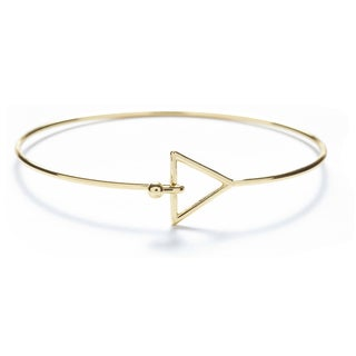 Alchemy Jewelry Handmade Ethical Sacred Geometric Triangle Bangle with 22k Gold Overlay and Fishhook Clasp