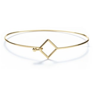 18k Gold Overlay Square Bangle