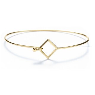 Alchemy Jewelry Handmade Ethical Sacred Geometric Square Bangle with 22k Gold Overlay and Fishhook Clasp