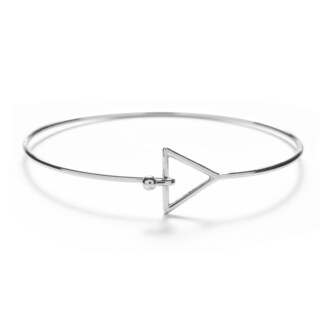 Alchemy Jewelry Handmade Ethical Sacred Geometric Triangle Bangle with Sterling Silver Overlay and Fishhook Clasp
