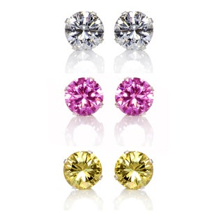 Sterling Silver Pink/ Yellow and Clear 8-mm Cubic Zirconia 3-Pair Earring Stud Set