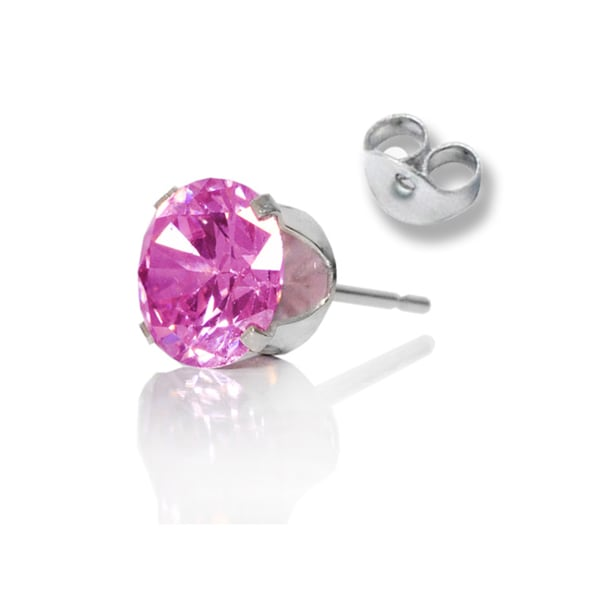 Clear and Yellow Cubic Zirconia Earring Studs Set of 3 Pair Sterling Silver 4-mm Pink