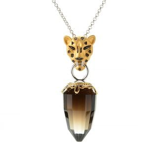 Michael Valitutti Leopard Head Smoky Quartz Pendant