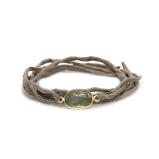 Alchemy Jewelry Handmade Ethical Gold Overlay Faceted Green Quartz Gemstone on Adjustable Boho Taupe Silk Wrap Bracelet