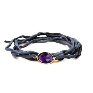 Gold Overlay Amethyst on Charcoal Grey Silk Wrap Bracelet