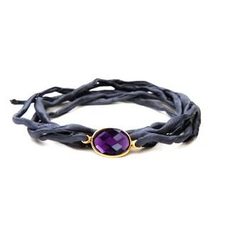 Alchemy Jewelry Handmade Ethical Gold Overlay Faceted Amethyst Gemstone on Adjustable Boho Charcoal Grey Silk Wrap Bracelet
