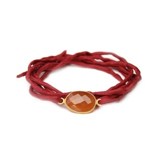 Gold Overlay Carnelian on Scarlet Silk Wrap Bracelet