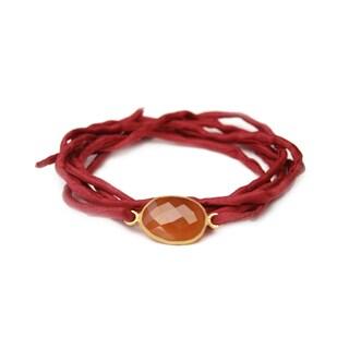 Gold Overlay Carnelian on Scarlet Silk Wrap Bracelet